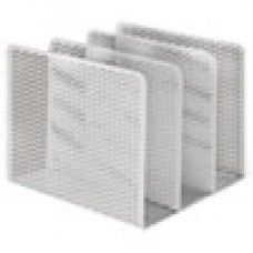 Desk Supplies>Desk Set / Conference Room Set>Holders> Files & Letter holders: Urban Collection Punched Metal File Sorter, Three Sections, 8 x 8 x 7 1/4, White