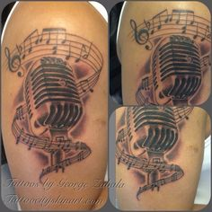 Microphone tattoo by George Zabala at Tattoo City in Lockport, IL