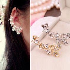 mode vlinder edelstenen ms diamanten oorknopjes oor clip (1 st) – EUR € 2.87