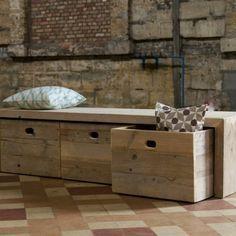 banc de rangement, grande banquette en bois avec rangement