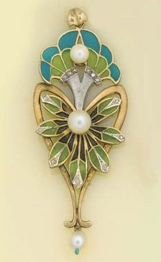A rose-cut diamond, plique-à-jour enamel and cultured pearl pendant, in the Art Nouveau style of stylised flower spray design, enamelled in blue and green with cultured pearl drop and curled leaf loop.