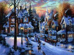 Christmas Village by Thomas Kinkade Christmas Scenery, Christmas Village Display, Christmas Town, Christmas Villages, Victorian Christmas, Blue Christmas, Christmas Music, Christmas Pictures, Beautiful Christmas