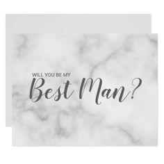 Will You Be My Best Man? Elegant Marble Script Card - script gifts template templates diy customize personalize special
