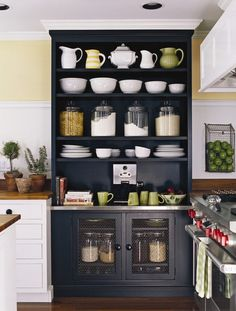 black hutch in white kitchen