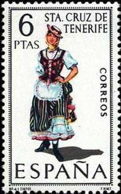 Collection of Spanish stamps: 1970 Sta. Traditional Fashion, Traditional Outfits, First Day Covers, Folk Costume, Canary Islands, My Stamp, Stamp Collecting, Mail Art, Regional