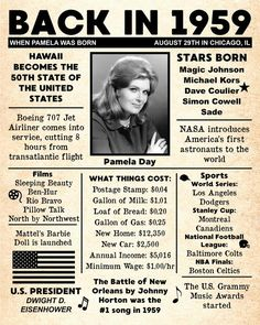 Personalized 60th Birthday NEWSPAPER Poster 1959 Facts