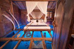 Bedroom with glass floor in Ubud, Indonesia [4256 x 2832] - Interior Design Ideas, Interior Decor and Designs, Home Design Inspiration, Room Design Ideas, Interior Decorating, Furniture And Accessories