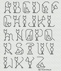 Cat Alphabet in stitches. Bullet Journal Font, Journal Fonts, Bullet Font, Hand Lettering Alphabet, Calligraphy Alphabet, Calligraphy Fonts, Script Fonts, Alphabet Fonts, Alphabet Design
