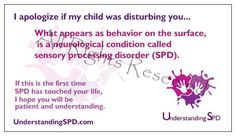 SPD awareness card!  Promote sensory processing disorder awareness! An essential for any trip or vacation.