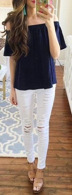 #summer #preppy #outfits | Navy Off The Shoulder Top + White Ripped Jeans