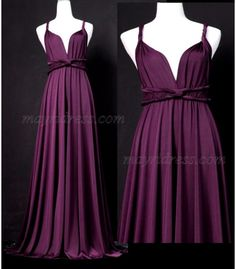 Full Length Infinity Dress Wrap Convertible Dress Evening Purple Bridesmaid Maxi Dress
