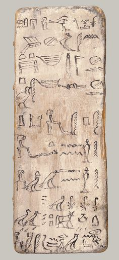 Writing board of an apprentice scribe, Dynasty 11 or earlier (ca. 2030 b.c.) Egyptian; Provenance unknown Whitewashed wood and ink