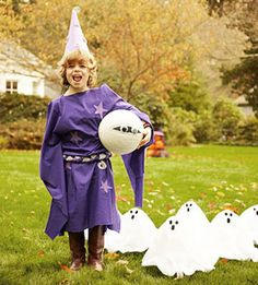 "Halloween Game: Ghostly Bowling     Put a spooky spin on backyard bowling with these tricks. Wrap a black basketball in gauze and add large googly eyes. Dress up recycled soda bottles like ghosts by gluing white batting to the top of each bottle lid. Kids can take turns rolling the ball into the ""ghosts"" to score points"