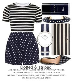 """DOTTED AND STRIPED"" by noraaaaaaaaa ❤ liked on Polyvore featuring Kate Spade, Topshop, Zizzi, J.Crew, Daniel Wellington, Christian Dior, highwaistedshorts, striped, Dotted and stripedshirt"