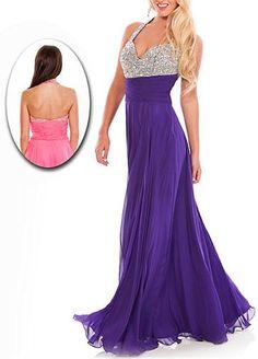Stunning Chiffon A-line Halter Neckline Beaded Bust Floor Length Prom Dress