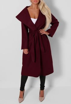 Tamora Wine Waterfall Belted Coat | Pink Boutique