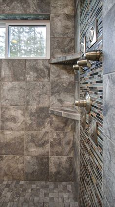 Built in tile shelves in the shower and window for added light & storage. #gnwhomes #curtbartkowski