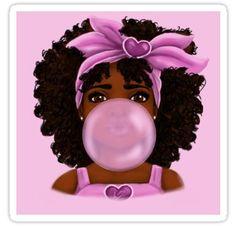 'Bubble Gum- Little Black Girl Portrait' Canvas Print by Shakira Rivers Black Love Art, Black Girl Art, Black Girl Magic, Black Is Beautiful, Art Girl, Black Girls, Black Art Painting, Black Girl Cartoon, Afro Art
