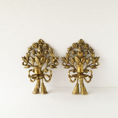 Vintage Pair Brass Candle Sconces, Ornate Flowers Ribbons Tassels... ($68) ❤ liked on Polyvore featuring home and home decor