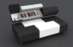 Sofa Multifunction With Bookcase For Small Space Design Black And White Color ~ http://lanewstalk.com/a-new-and-small-space-sofas-ideas/