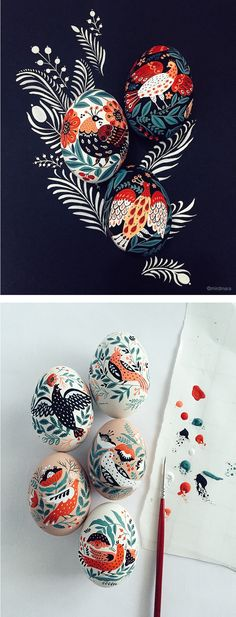 Dinara Mirtalipova creates colorful eggs hand-painted with decorative birds, ornamental flowers, and stylized sprigs of leaves.