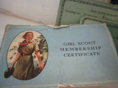 Here is a very early piece from the 1930's which represents the stages a young Ethel Katt went through during her scouting career. The green 'wallet' is made of very soft, green leather and is very well made with leather stitching. The snap has the girl scout emblem and snaps soundly. The six membership cards all bear the name of 'Ethel Katt'