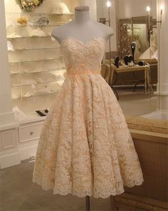 peach sweetheart neckline strapless tea length lace dress