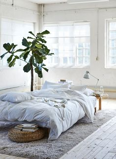 A low bed with white bedding on a beige rug in the centre of a white room. Old Bed Sheets, Best Bed Sheets, Textiles, Bed Sheet Curtains, Ikea France, Feng Shui Your Bedroom, Old Beds, Curtains With Rings
