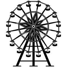 Photo: Amusement park ride ferris wheel in vector silhouette © LHF Graphics #20009130