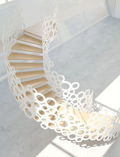Hallway Stairs Concrete House Strategy Modern Staircase Design and style Curve Artistic Staircase Concepts Functional Stair And Wall Divider Outstanding Modern Wooden Staircases, Modern Staircase, Grand Staircase, Stairways, Spiral Staircases, Modern Railing, Escalier Art, Escalier Design, Stair Steps