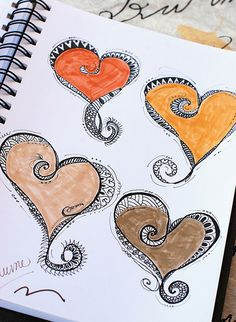 "Practicing heart designs using simple filler patterns, from ""Zenspirations, Letters & Patterning"" by Joanne Fink. I don't like how the Tombow markers don't provide even coverage on this type of paper, but that's the markers I have on hand, so they will have to do for now."