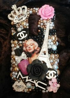 Marilyn Monroe LOGO  Homemade Case Handmade Rhinestones Fits LG G2 ( Optimus )