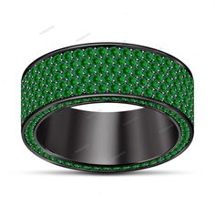 Round Green Sapphire 3.00 Carat 14K Black Gold Finish Men's Engagement Band Ring #beijojewels #MensWeddingBandRing #EngagementWeddingAnniversaryValentines