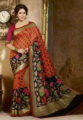 Orange and Black Art Bhagalpuri Silk Saree with Blouse