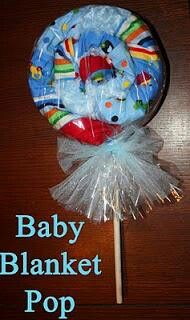On-A-Stick: Baby Blanket Pop (really cute baby shower gift ideas!) On-A-Stick: Baby Blanket Pop (rea Regalo Baby Shower, Idee Baby Shower, Cute Baby Shower Gifts, Shower Bebe, Homemade Gifts, Diy Gifts, Wrap Gifts, Homemade Baby, Baby Wedding