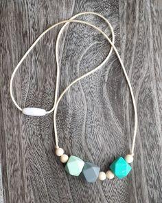 Geometric Bead Silicone Teething Necklace in Aqua