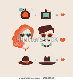 man and woman couple in love vector illustration eps 10 - stock vector