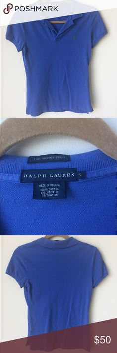 """Ralph Lauren """"The Skinny Polo"""" Blue Ralph Lauren • """"The Skinny Polo"""" • Royal Blue • Size S • Slightly faded from wear but still in good condition • First pic is similar style, not exact • OPEN TO OFFERS🌟 Ralph Lauren Tops Blouses"""