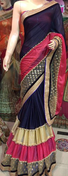 Designer Saree - Navy b lue Dress Indian Style, Indian Dresses, Indian Outfits, Patiala, Salwar Kameez, Sari Design, Saree Trends, Saree Models, Stylish Sarees