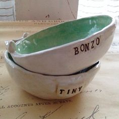 Customizable Cat Bowl with Bird by cinderceramics on Etsy, $20.00