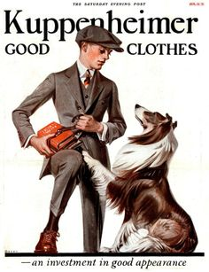 Saturday Evening Post Illustration by JC Leyendecker August 1921 Art Deco Illustration, American Illustration, Illustrations, Jc Leyendecker, Norman Rockwell Paintings, Rough Collie, Traditional Paintings, Dog Art, Vintage Art