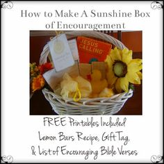How to Make a Sunshine Box of Encouragement - includes FREE Printables to help you! - this is such a wonderful idea. I am getting on this ASAP Creative Gifts, Cool Gifts, Diy Gifts, Box Of Sunshine, Little Gifts, Homemade Gifts, Gift Baskets, Teacher Gifts, Holiday Gifts