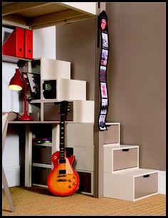 espace loggia lit mezzanine podium brick bambou ferme sofa. Black Bedroom Furniture Sets. Home Design Ideas
