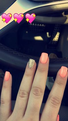 Pictures of coral acrylic nails for prom kidskunst info Coral Nails Gold, Coral Acrylic Nails, Gold Glitter Nail Polish, Peach Nails, Gold Gold, Coral Nails With Design, Uñas Color Coral, Vernis Semi Permanent, Tattoos