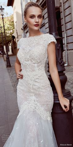 miriams bride 2018 bridal cap sleeves bateau neckline heavily embellished bodice elegant mermaid wedding dress v back chapel train (9) mv zv -- Miriams Bride 2018 Wedding Dresses