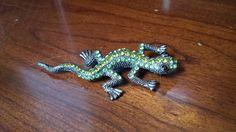 Lizard Brooch with Genuine Green Crystals by KingstonBayTreasures