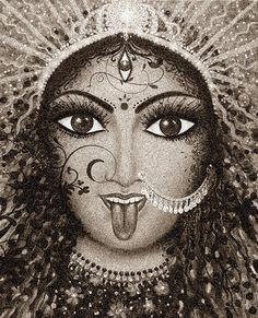 Indian Goddess Kali, Indian Gods, Durga Maa, Shiva Shakti, Altar, Maa Kali Images, Kali Mata, Indian Illustration, Shiva Tattoo