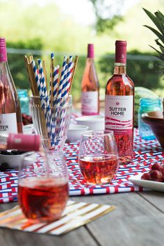 Be a gold-winning host. Team up with family and friends and celebrate our athletes with our gold-medal-winning Sutter Home Red and Pink Moscato and White Zinfandel wines. To create your USA-team-themed tablescape, with matching snacks and desserts, follow our blog at SutterHome.com.