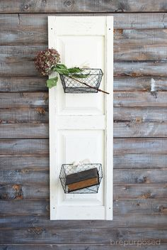 A simple tutorial on how to create a DIY Shutter Door with Basket Storage!