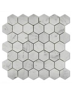 Bianco Carrara 2x2 Hexagon Polished Marble Mosaic Tile #bianco_carrara_marble #hexagon_mosaic_tile Hexagon Mosaic Tile, Marble Mosaic, Glass Mosaic Tiles, Carrara Marble, Ceramic Texture
